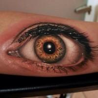 3d realistic eyeball tattoo on arm