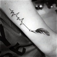 3D realistic feather drawing heart rhythm black ink tattoo