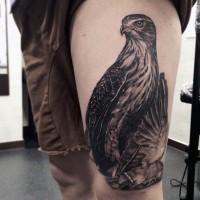 3D realistico nero e bianco dettagliato aquila tatuaggio su coscia