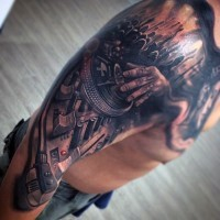 3D realistic looking multicolored music themed tattoo on sleeve and chest