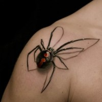 3d realistic spider tattoo on shoulder