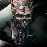 3D style amazing looking arm tattoo of human skull with clock and chess
