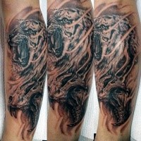 3D style amazing looking forearm tattoo of tiger and skull