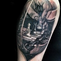 3D style amazing looking thigh tattoo of chess play