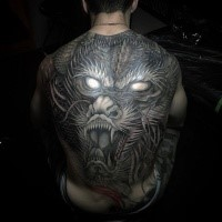 3D style amazing looking whole back tattoo of creepy dragon