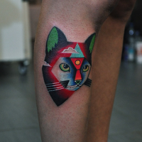 3D style awesome looking leg tattoo by David Cote of fantasy cat