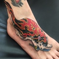 3D style awesome painted by horitomo tattoo of Manmon cat