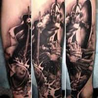 3D style black and white very detailed forearm tattoo of Spartan warrior fight