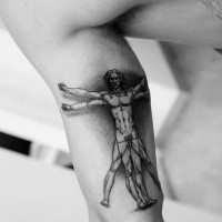 3D style black ink belly tattoo of Vitruvian man designed by Da Vinci