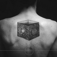 3D style black ink upper back tattoo of mysterious cube