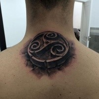 3D style black ink upper back tattoo of Celtic symbol