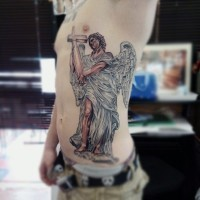3D style colored accurate painted side tattoo of angel with cross