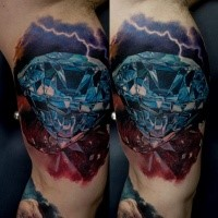 3D style colored biceps tattoo of incredible diamond