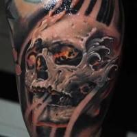 Tatuaggio bicipiti colorati in stile 3D del teschio umano fantasy