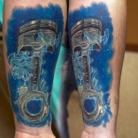 3D style colored car piston under water tattoo on forearm