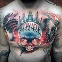 3D style colored chest tattoo of human skull with lettering and painters hands