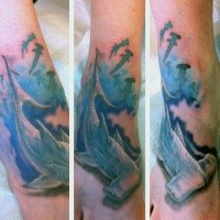 3D style colored foot tattoo of swimming sharks