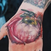 3D style colored hand tattoo of human eye and insect