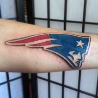3D style colored leg tattoo of American sports team emblem
