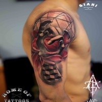 3D style colored shoulder tattoo of human hand with flower and geometrical figures
