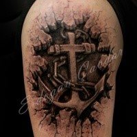 3D style colored shoulder tattoo of old iron anchor with chain
