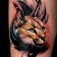3D style colorful cool looking tattoo of caracal head