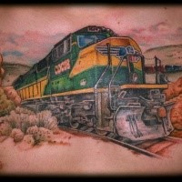 3D style detailed chest tattoo of modern heavy train