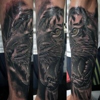 3D style detailed forearm tattoo fo tiger head