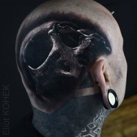 3D style detailed painted by Eliot Kohek on head tattoo of human skull