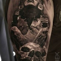 3D style detailed upper arm tattoo of ancient statue with human skull by Eliot Kohek