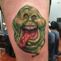 3D style funny looking tattoo of green ghost
