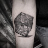 3D style gorgeous looking forearm tattoo of big hypnotic cube