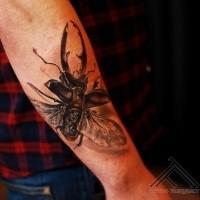 3D Stil wunderschönes detailliertes Unterarm Tattoo mit großem Käfer