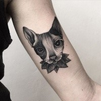 3D style impressive looking biceps tattoo of dot style cat with leaves