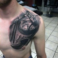 3D style marvelous looking chest tattoo of big anchor with compass