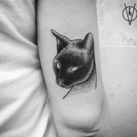 3D style mystical looking arm tattoo of cat
