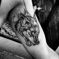 3D style nice painted by Inez Janiak biceps tattoo of fox head