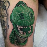 3D style painted and colored funny dinosaur toy tattoo