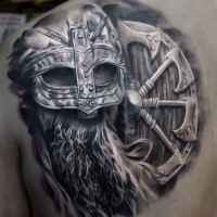 3D style realistic looking scapular tattoo of viking warrior with big shield
