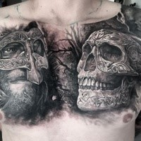 3D style very detailed chest tattoo of human skull with medieval warrior