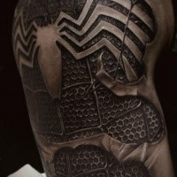 3D style very detailed shoulder tattoo of spider man suit