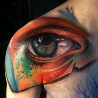 3D style very detailed shoulder tattoo of creepy human eye