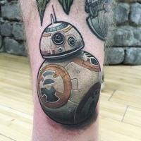 Tatuaje  de droide BB-8 precioso volumétrico  en la pierna