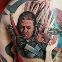3D very detailed Game of Thrones king portrait tattoo on back with dragon