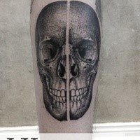 3D very detailed painted by Valentin Hirsch tattoo of human skull