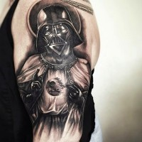 3D very detailed saint like Darth Vader tattoo on shoulder stylized with unfinished Death Star