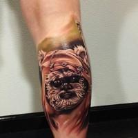 3D very realistic detailed little movie hero tattoo on leg