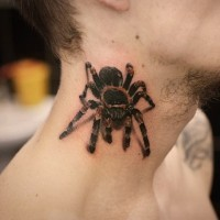 3D very realistic jungle spider tattoo on neck