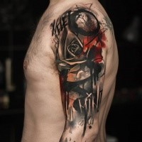 Abstract dark rose tattoo for men