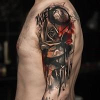 Tatuaje abstracto de rosa oscura para hombres